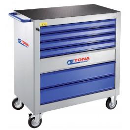 Montážní vozík XL se 7 zásuvkami, 4 moduly na zásuvku, bez vybavení, Expert, E010101T