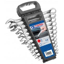 Sada očkoplochých klíčů v plastovém držáku, 12 - dílná, DIN3113, Tona Expert, E110309T