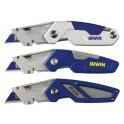 Zavírací nůž s třemi trapézovými bimetalovými čepelemi+2 x bit, FK250, IRWIN, 1888439