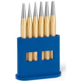 Sada kuželových průbojníků, 1,2,3,4,5 mm a dulčík 4 mm, plastový stojánek, Rennsteig, R424-120-0