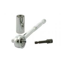 """Univerzální hlavice, 3/8"""", 51 mm, GATOR-GRIP, 7-19 mm, ráčna, adaptér do vrtačky, ETC-200"""