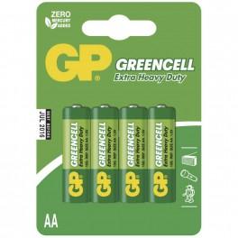 Zinkochloridová baterie, GP Greencell, R6, AA, 4 ks, blistr, B1221, EM-B1221