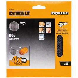 Brusná síťovina pro excentrické brusky, 150 mm, zrno 80, 5 ks, DeWalt, DTM3123