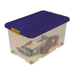 Box na kolečkách s víkem, 600 x 400 x 300 mm, transparentní, víko modré, 1079923