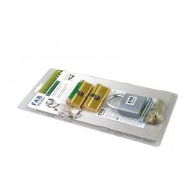 Sada vložka 2 x 100RSD 29-35 mm + visací zámek 80 RSH + 6 společných klíčů, mosaz, FAB, FABKOMBI8