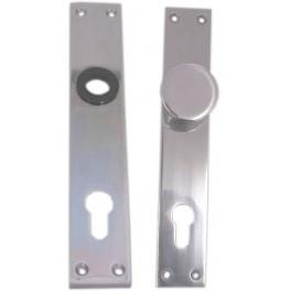 Štít dveřní, hliníkový, 90 mm, FAB s knoflíkem, bez kliky, 26087, Komas, 003910KOV