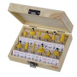 Sada HM fréz, 12-dílná, dřevěná kazeta, stopka 8 mm, 1203524