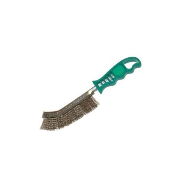 Kartáč s plastovou rukojetí, mosazný, drát 0,3 mm, DKUNIM
