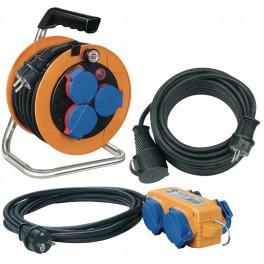 Set IP44 kabelový buben 10m + kabel 5 m + čtyřzásuvka  s 10 m, Brennenstuhl, BS1070151