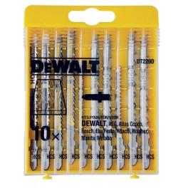 Sada listů do přímočaré pily, 10 dílná, na dřevo, DeWalt, DT2290