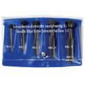 Sada dvoubřitých odstraňovačů zalomených šroubů, 5 - dílná, vinylové pouzdro, Rennsteig, R471-900-3