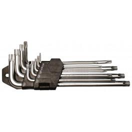 Sada Torx klíčů, 9-dílná, T10-T50, prodloužené, CrVa, Festa, F18491