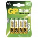 Alkalická baterie, GP Super, LR6, AA, 4 ks blistr, B1321, EM-B1321