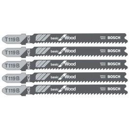 Pilový list do přímočaré pily, Basic for Wood, T 119 B, 5ks, Bosch, T119B