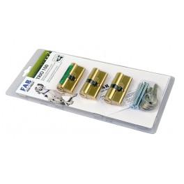 Sada vložka 3 x 100RSD 29-35 mm + 6 společných klíčů, mosaz, FAB, FAB100TRIO