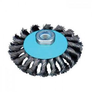 Drátěný kartáč, talířový, copánkový, 100 mm x M14, ocelový drát 0.5 mm, OSBORN DCOP100