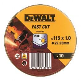 Sada kotoučů na nerez v kovové krabičce, 115 x 1,0 mm, 10 ks, DeWALT, DT3506