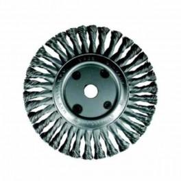 Drátěný kartáč talířový, copánkový, 125 x 22,2 mm, nerezový drát 0.50 mm, OSBORN, DCOP125N