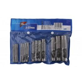 Sada děrovačů, 2 - 22 mm, 15-dílná, 24691