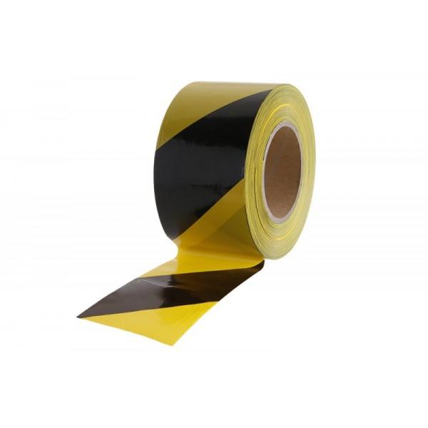 Varovná páska, 80 mm x 250 m, černá-žlutá, 38946