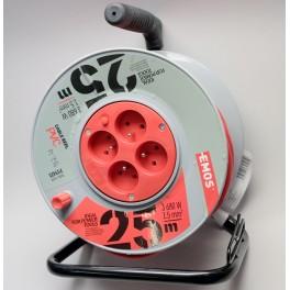 PVC prodlužovací kabel na bubnu, 4 zásuvky, 25 m, P19425, Emos, EM-P19425