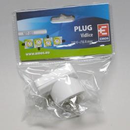 Vidlice úhlová pro prodlužovací kabel, bílá, P0035, Emos, EM-P0035