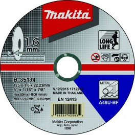 Řezný kotouč na ocel, 125 x 1,6 x 22,23 mm, Makita, B-35134