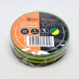 Izolační páska, PVC 15 mm / 10 m, zelenožlutá, F61515, Emos, EM-F61515