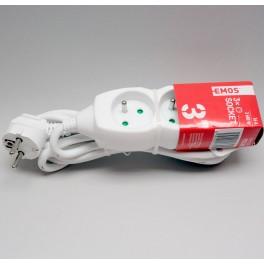 Prodlužovací kabel, 3m, 3 x 1,5mm, 3 zásuvky, P0313R, Emos, EM-P0313R