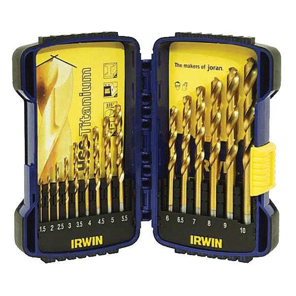 Sada vrtáků HSS Titanium, 15-dílná, 1,5-10 mm, Irwin, 10503991